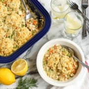 Turkey and Biscuits Casserole with Lemon and Dill