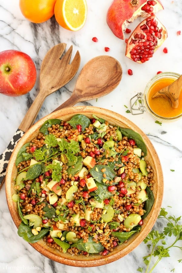 Wheat Berry and Spinach Salad with Orange-Curry Vinaigrette from afarmgirlsdabbles.com