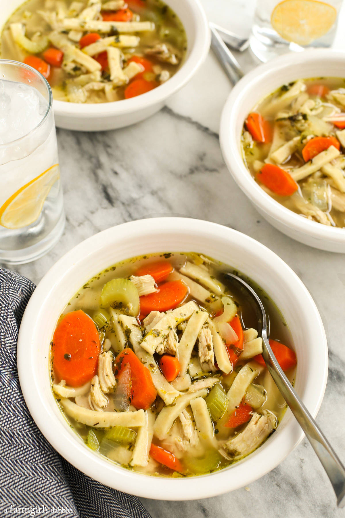 Mom's Homemade Chicken Noodle Soup from afarmgirlsdabbles.com