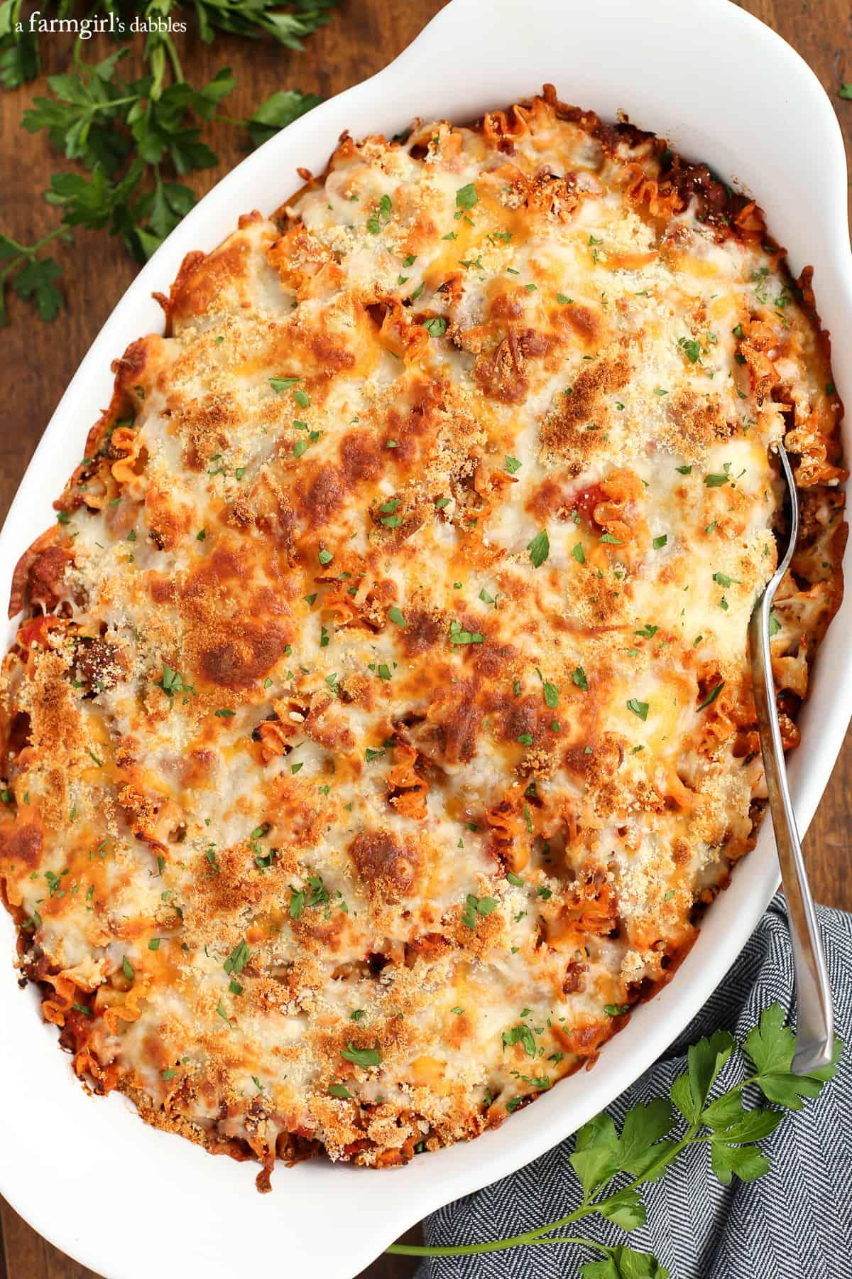 Spicy Lasagna Hotdish from afarmgirlsdabbles.com