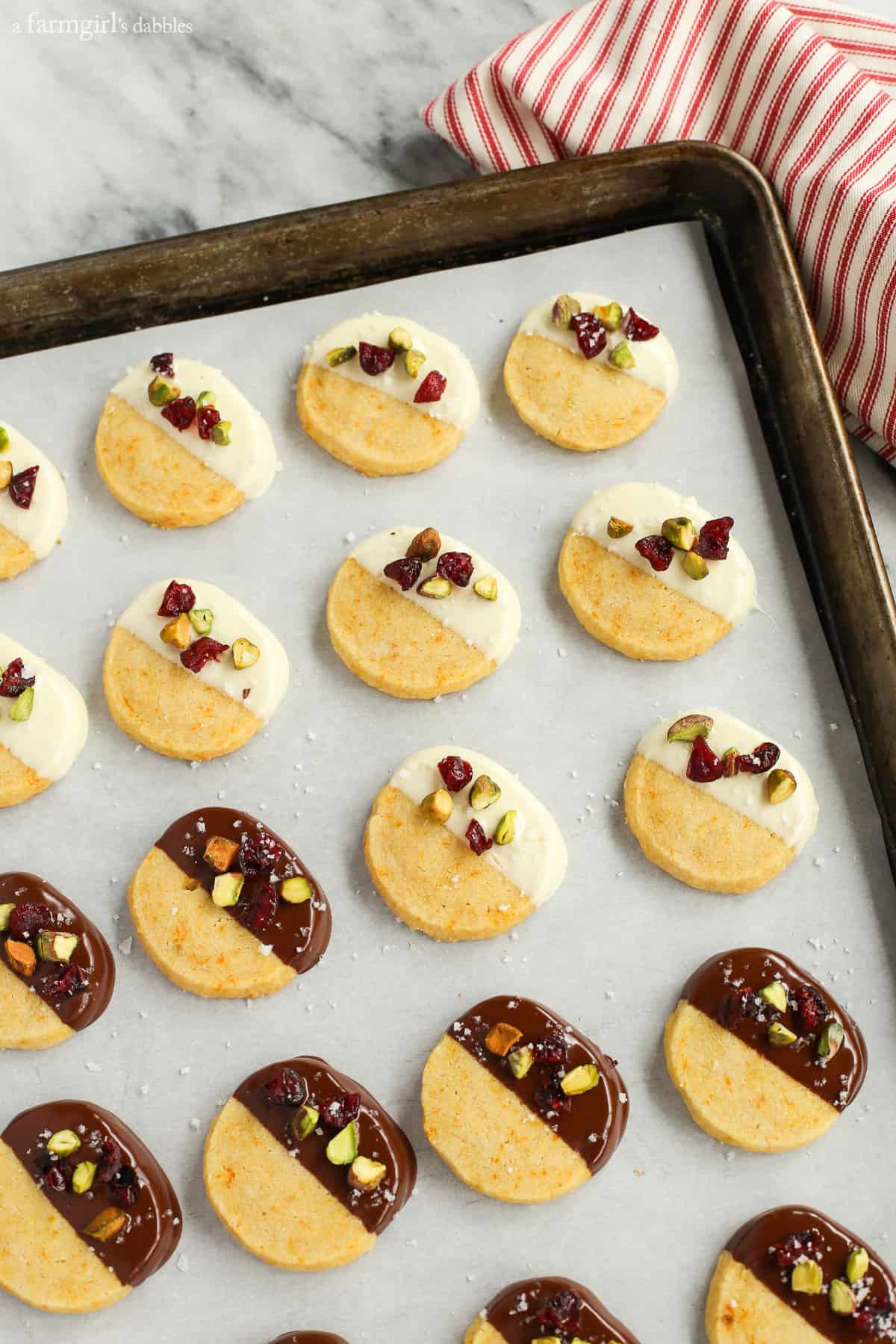 These Chocolate Dipped Orange Shortbread Cookies are festive for the ...
