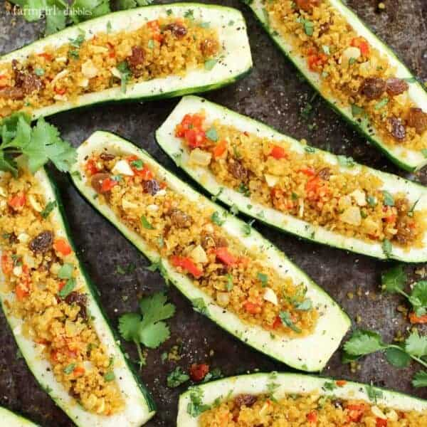 Roasted Curry Quinoa Stuffed Zucchini