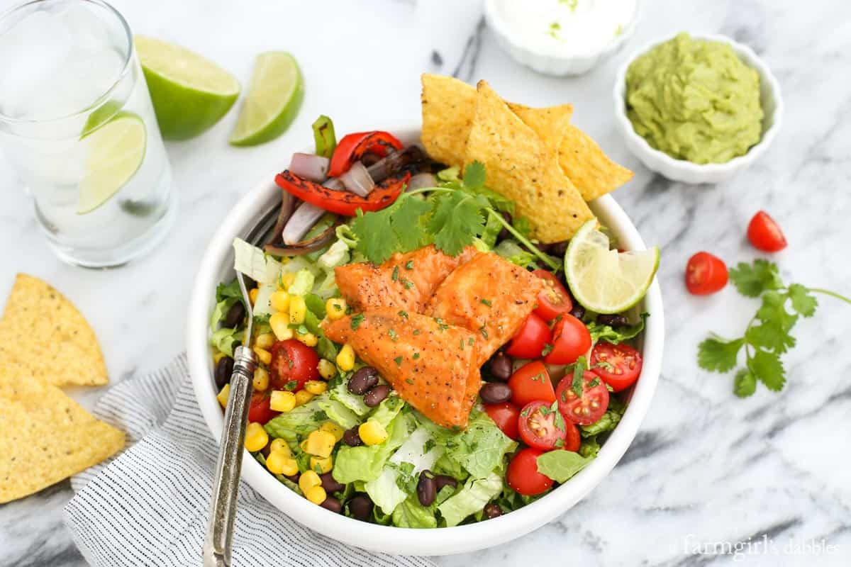 Santa Fe Tilapia Chopped Salad Bowl from afarmgirlsdabbles.com