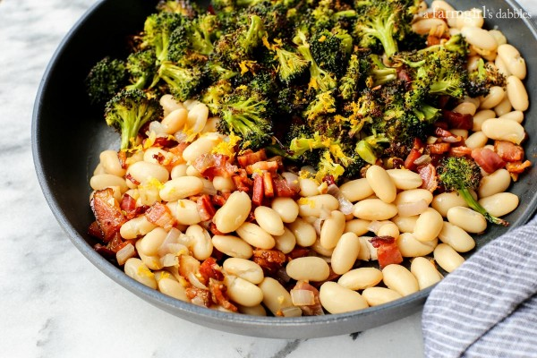 Lemon Broccoli with Beans and Bacon from afarmgirlsdabbles.com