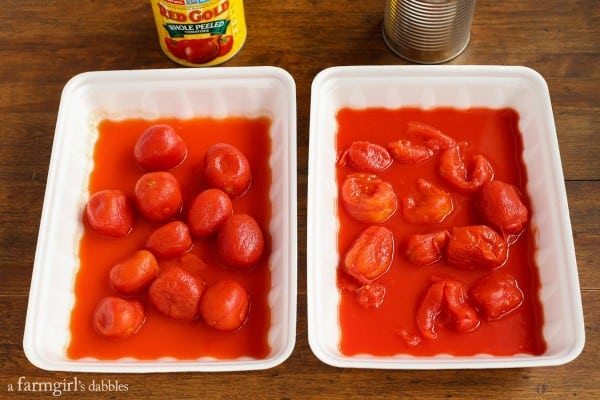 Red Gold Challenge comparing Red Gold tomatoes and another brand