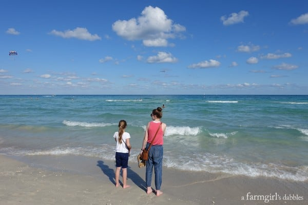 two girls standing on South Beach in Miami