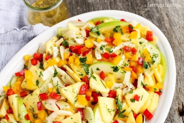 Green Apple, Pineapple, and Fennel Salad with Honey Ginger Dressing from afarmgirlsdabbles.com