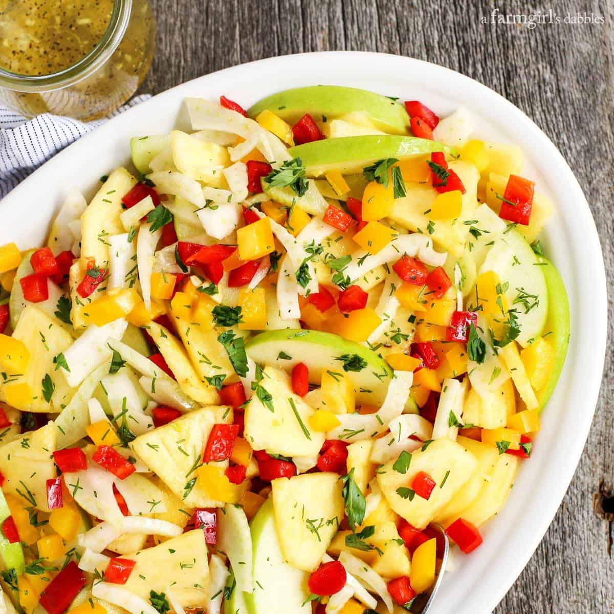 Green Apple, Pineapple, and Fennel Salad with Honey Ginger Dressing