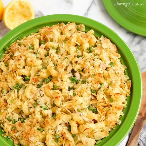 Sour Cream and Onion Tuna Noodle Casserole from afarmgirlsdabbles.com