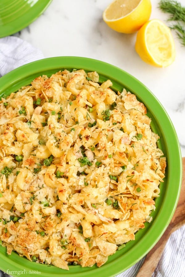 Sour Cream and Onion Tuna Noodle Casserole in a green baking dish