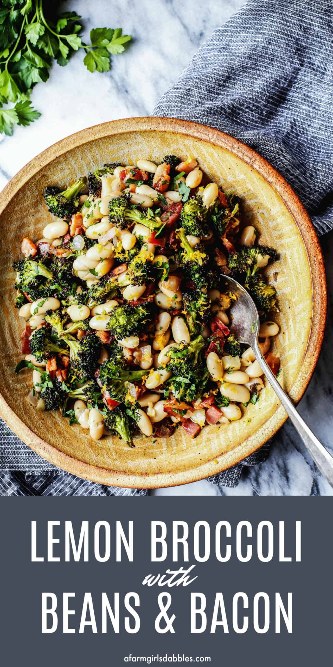 a pottery bowl with great northern white beans, roasted broccoli, fried bacon, and lemon zest