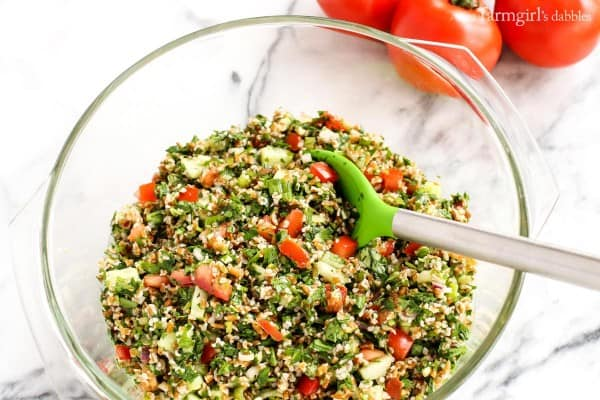 Tabbouleh in a glass bowl