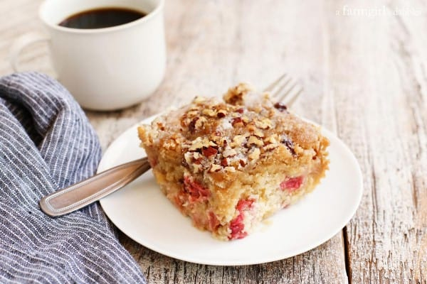 Rhubarb Nut Coffee Cake with a blue striped napkin