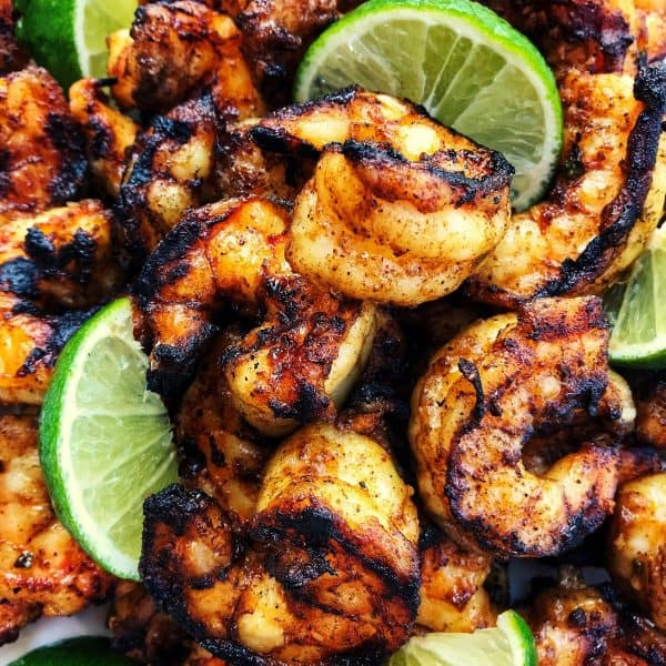 Grilled Margarita Shrimp Kebabs from afarmgirlsdabbles.com - These grilled shrimp are loaded with flavor and charred to perfection. #shrimp #grilled #kebabs #margarita #lime