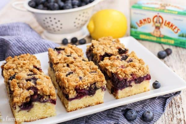 Blueberry Oat Crumble Bars, sliced, and on a plate