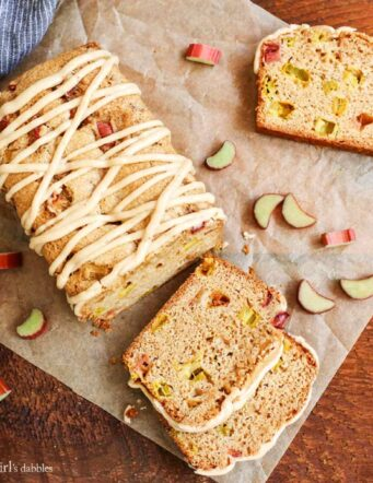 Cinnamon Rhubarb Bread with Brown-Butter Glaze