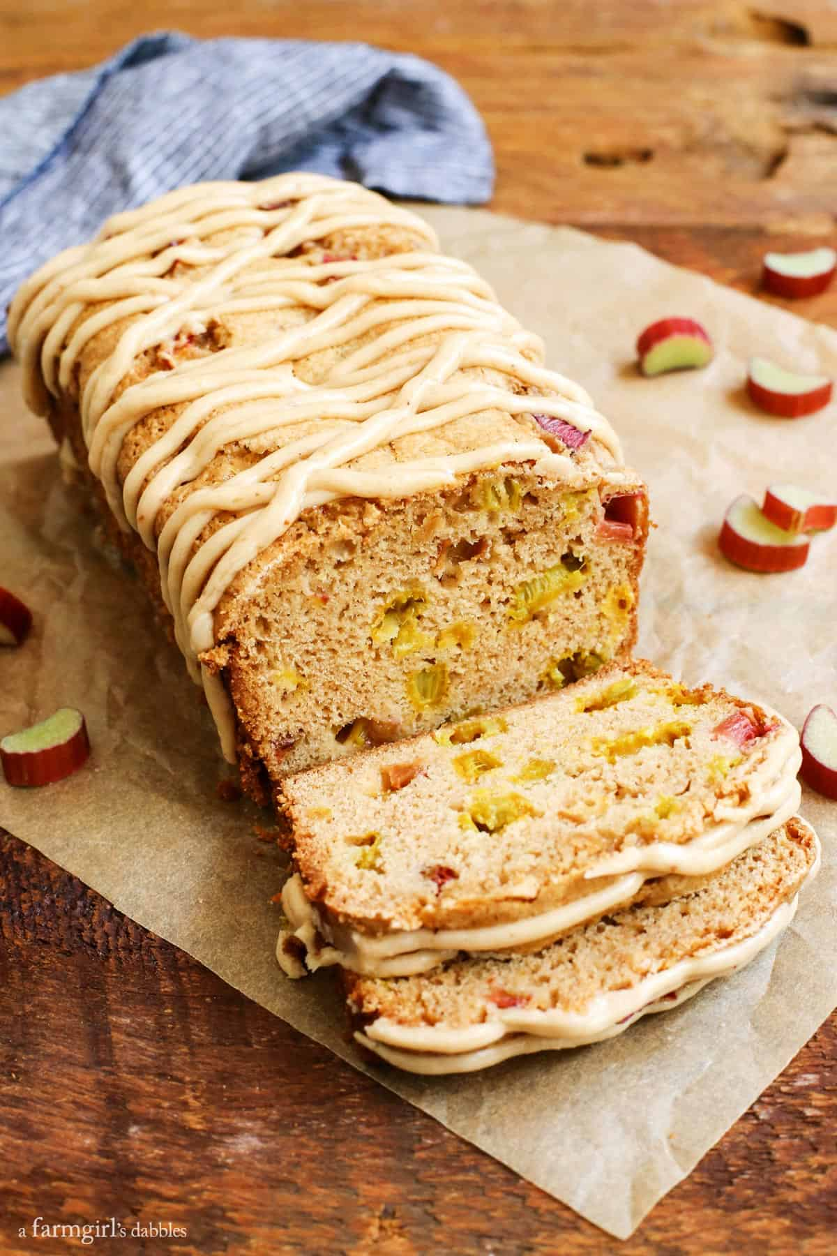 Cinnamon Rhubarb Bread with Brown-Butter Glaze from afarmgirlsdabbles.com