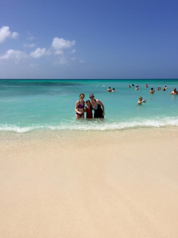 three girls in the water at Arishi Beach