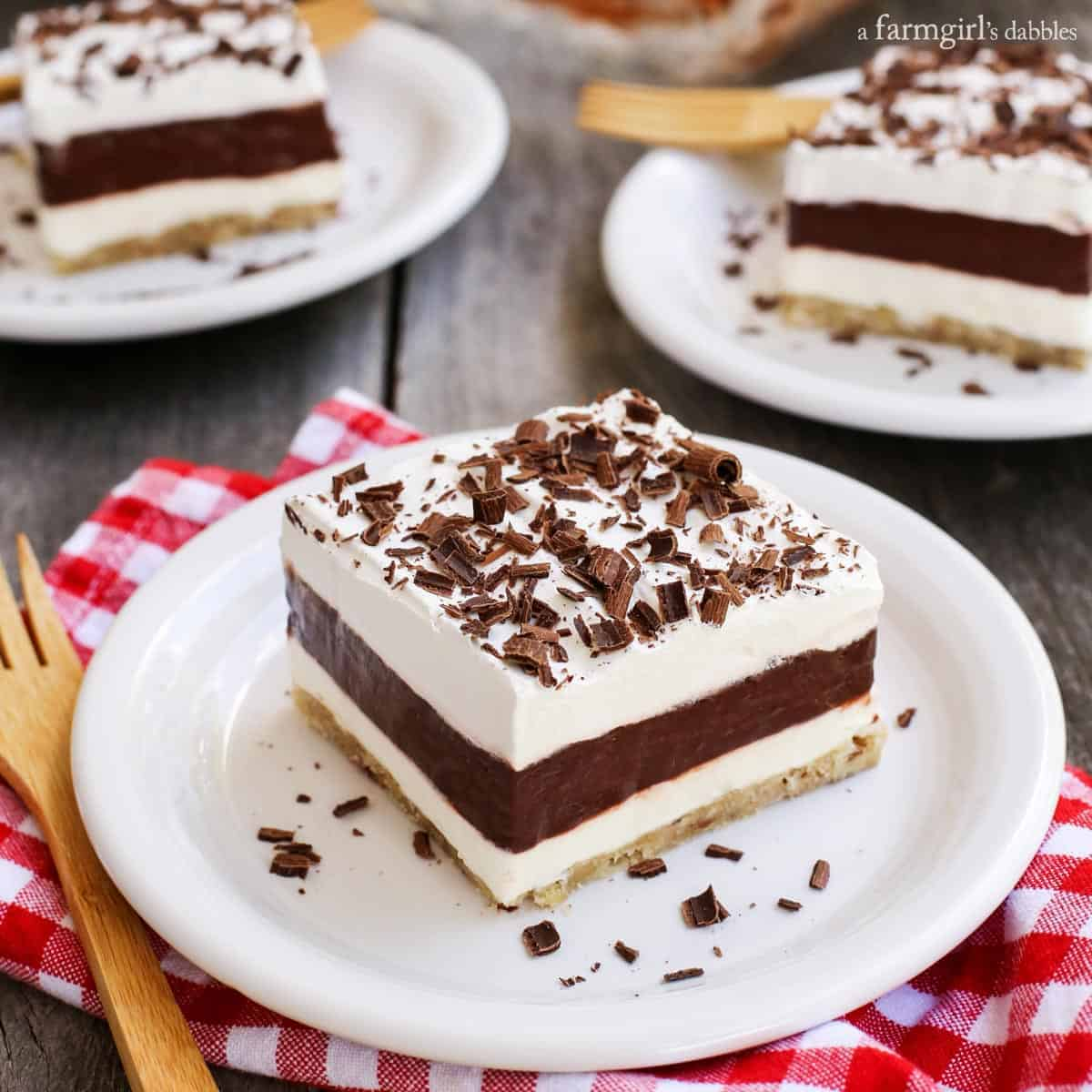Layered Chocolate Pudding Dessert with Salted Pecan Crust