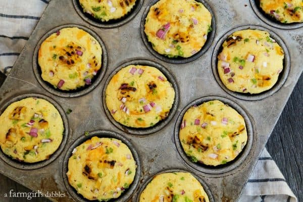 Jalapeno Grilled Sweet Corn Muffins from afarmgirlsdabbles.com