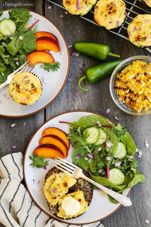 Jalapeno Grilled Sweet Corn Muffins with a side salad and nectarine slices