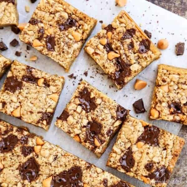 Butterscotch Chocolate Chunk Blondies with Smoked Salt from afarmgirlsdabbles.com