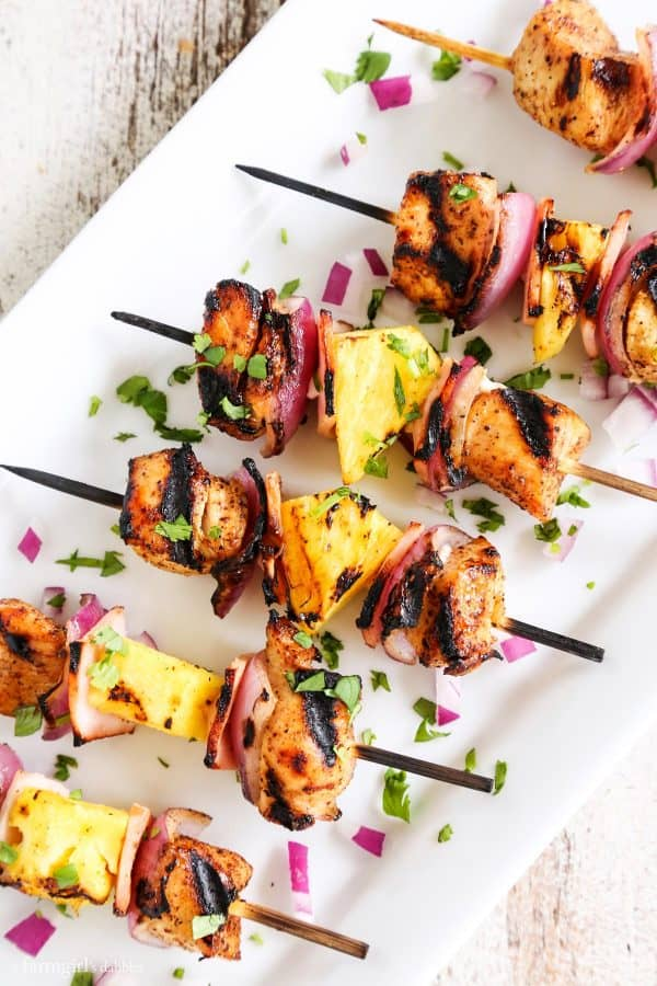 Chicken Kebabs with fresh pineapple and red onions