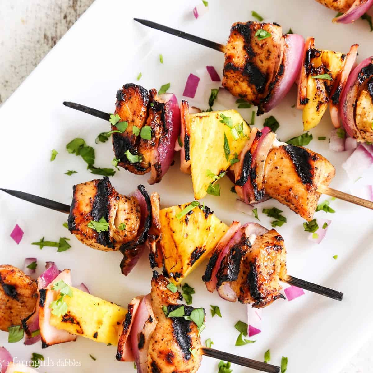 Grilled Hawaiian Chicken Chili Kebabs