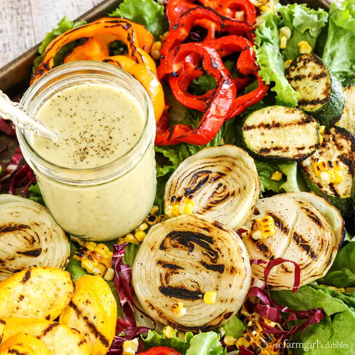 Grilled Veggies Salad with Grilled Vidalia Onion Dressing from afarmgirlsdabbles.com