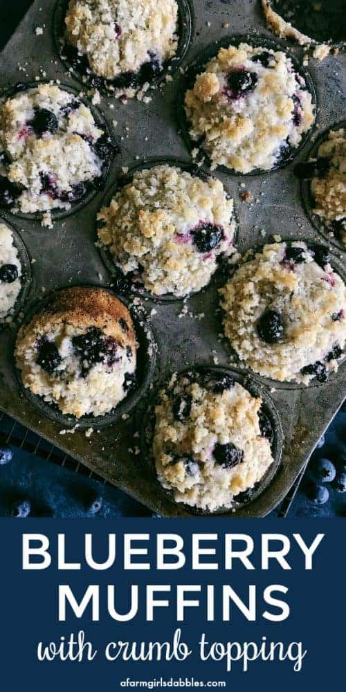 pinterest image of Blueberry Muffins with Crumb Topping