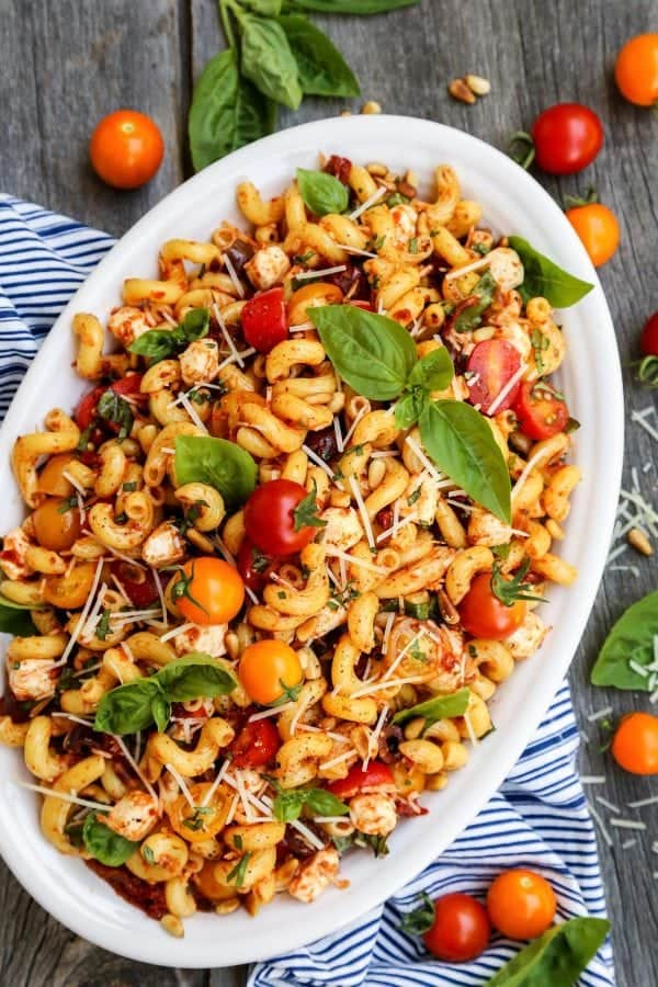 Sun Dried Tomato Pasta with fresh tomatoes and basil