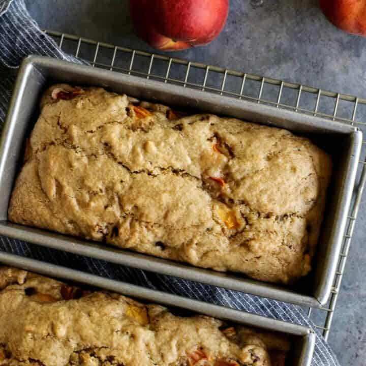 peach bread in pan