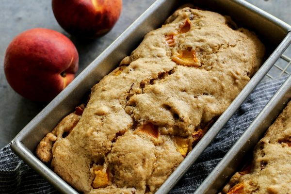 Peach Bread on a cooling rack
