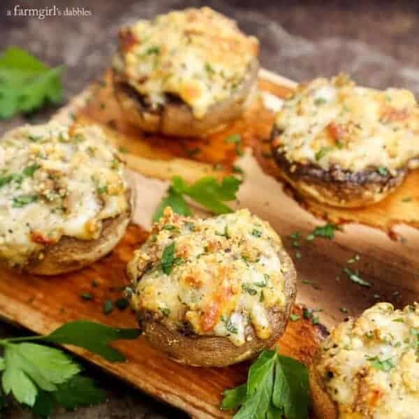 Cheesy Stuffed Mushrooms Grilled on a Cedar Plank