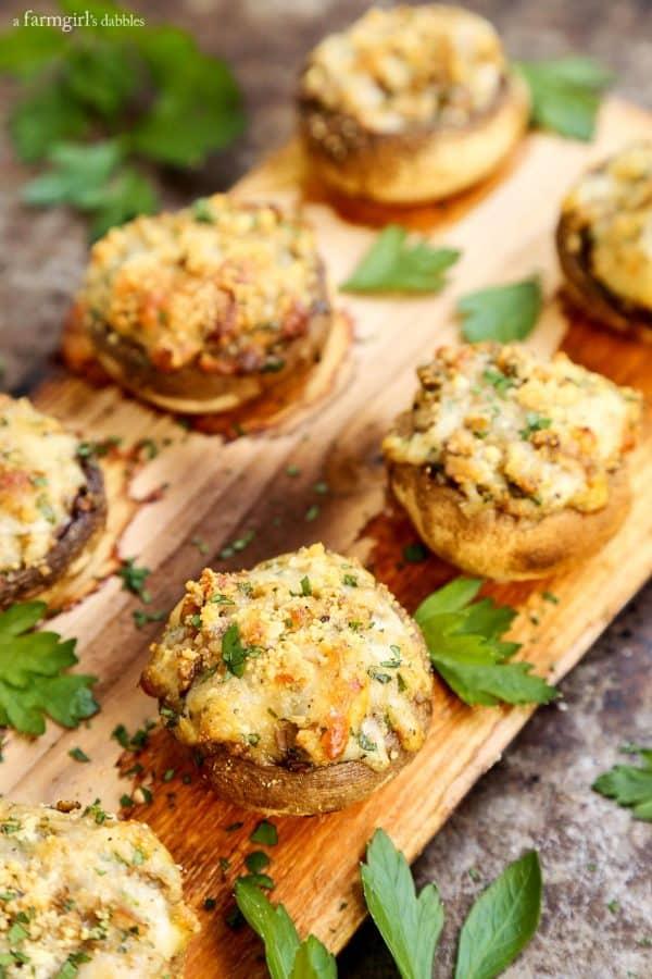 Cheesy Stuffed Mushrooms Grilled on a Cedar Plank with fresh parsley