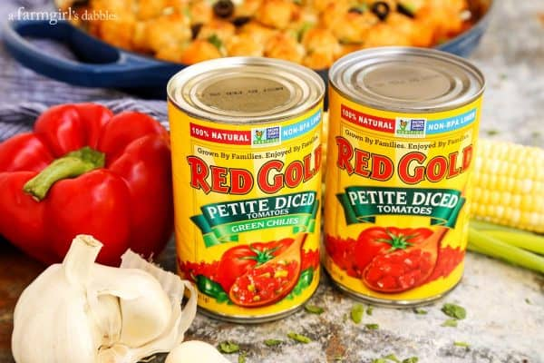 Red Gold petite diced tomato cans