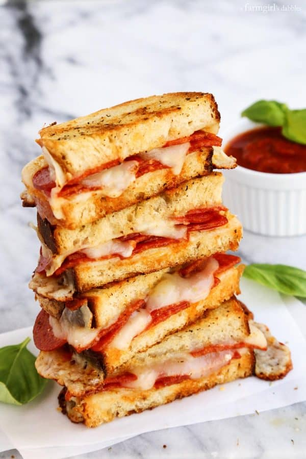 Pepperoni Pizza Grilled Cheese from afarmgirlsdabbles.com