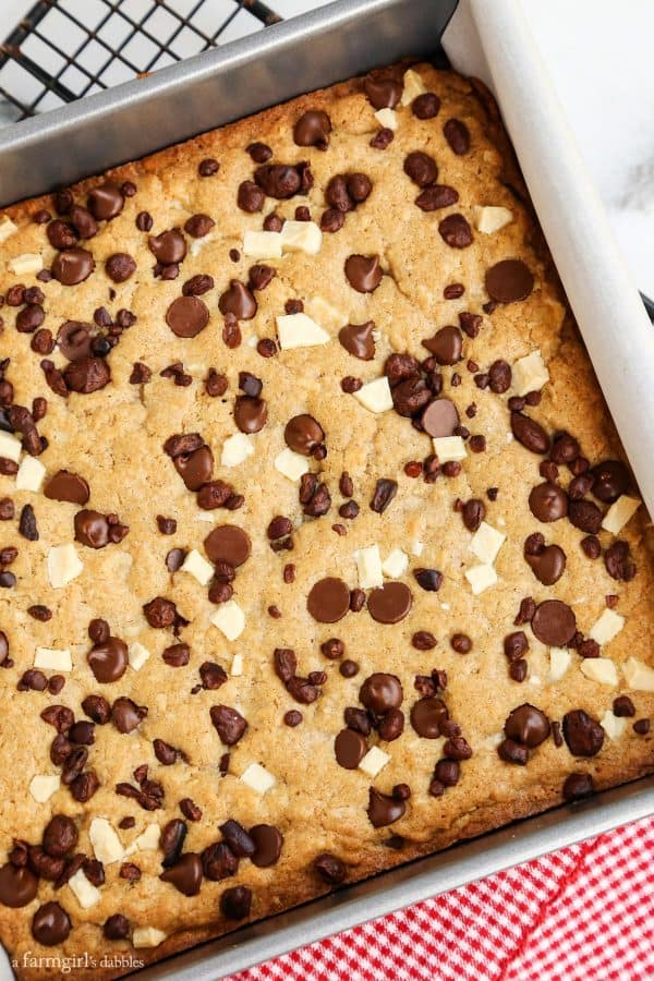 Triple Chocolate Coconut Blondies from afarmgirlsdabbles.com