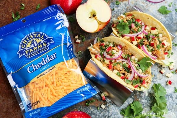 crystal farms cheddar cheese bag with chicken and apple tacos