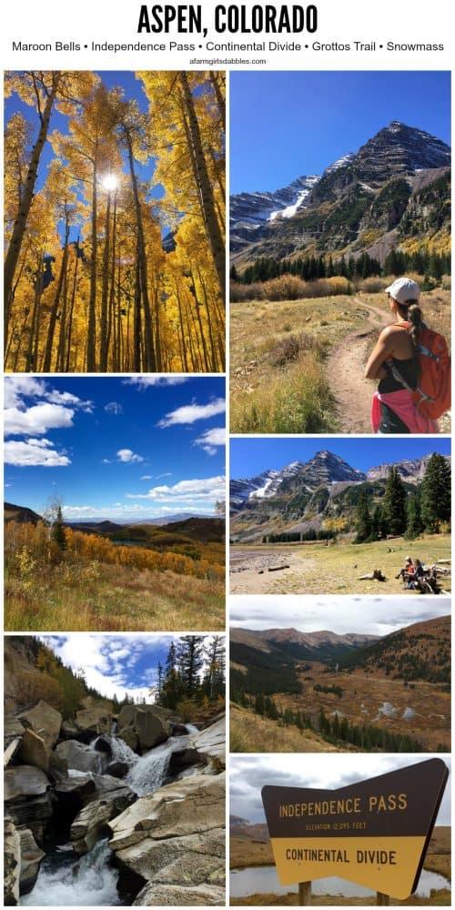 a collage of photos from Aspen, Colorado
