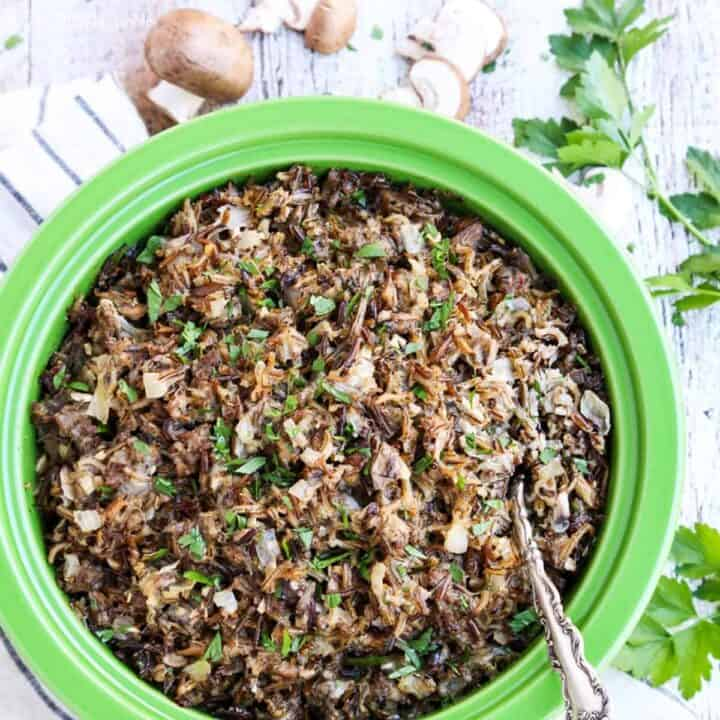 Creamy Wild Rice Casserole with Sausage and Mushrooms