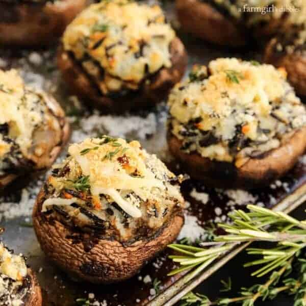 Mashed Potato and Wild Rice Stuffed Mushrooms from afarmgirlsdabbles.com