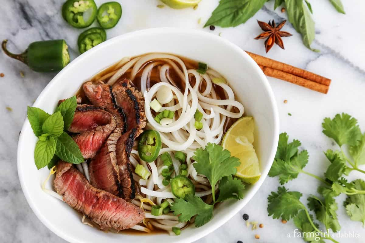 Quick Grilled Beef Pho from afarmgirlsdabbles.com