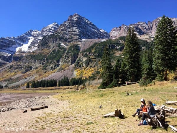 Lunch break at Crater Lake, hiking Maroon Bells near Aspen, CO from afarmgirlsdabbles.com