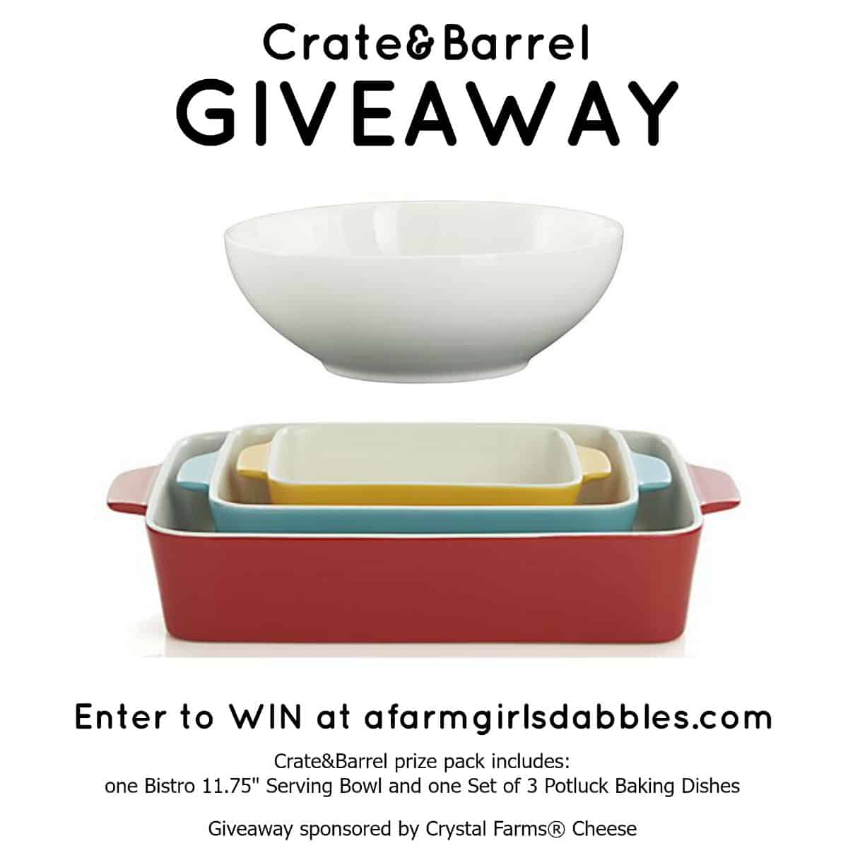 Crate&Barrel GIVEAWAY - enter to WIN at afarmgirlsdabbles.com