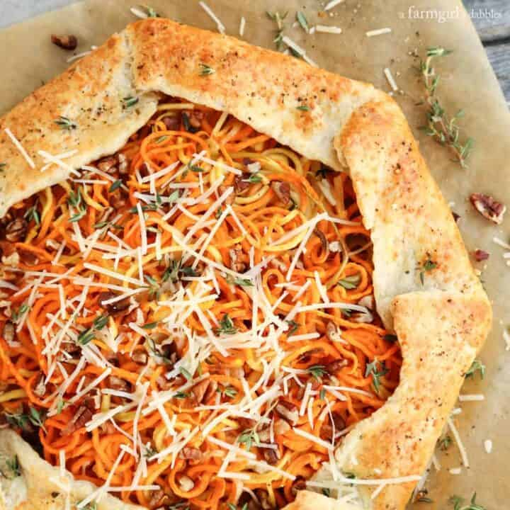 Parmesan Black Pepper Galette with Sweet Potato and Apple