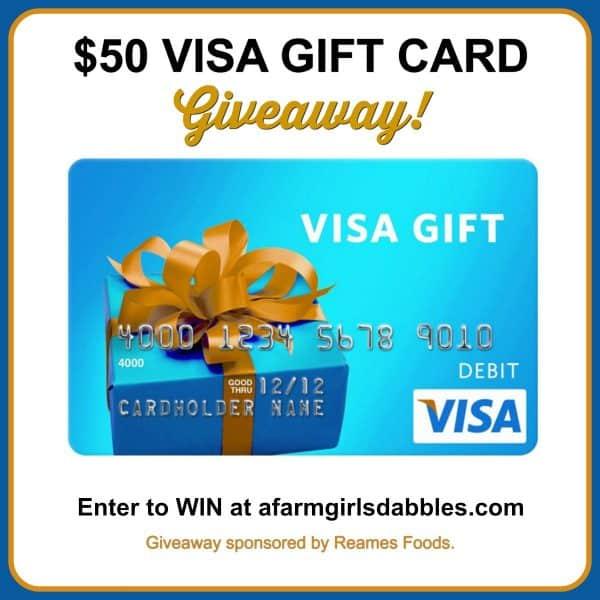 $50 VISA Gift Card Giveaway at afarmgirlsdabbles.com