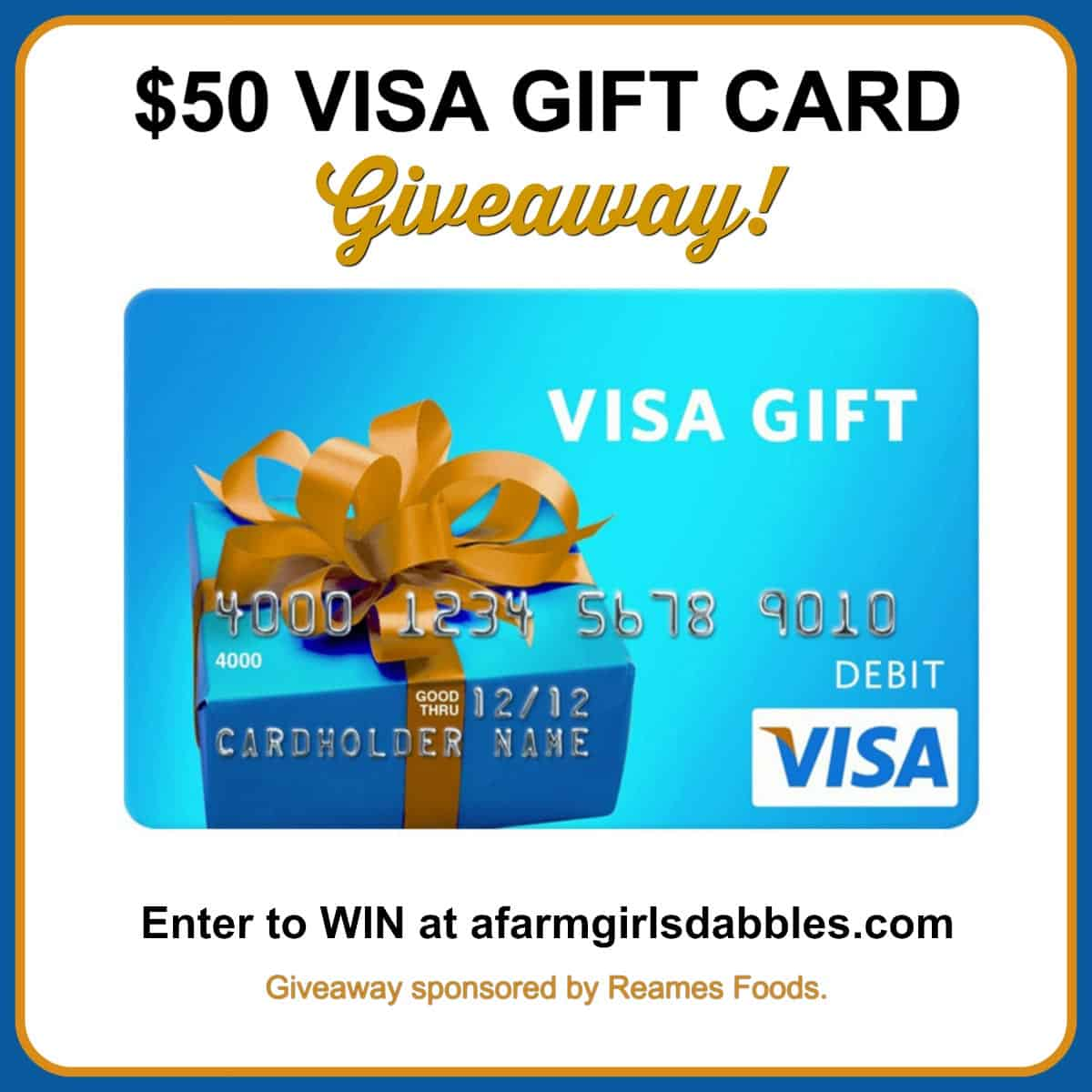 $50 VISA Gift Card Giveaway at afarmgirlsdabbles.com