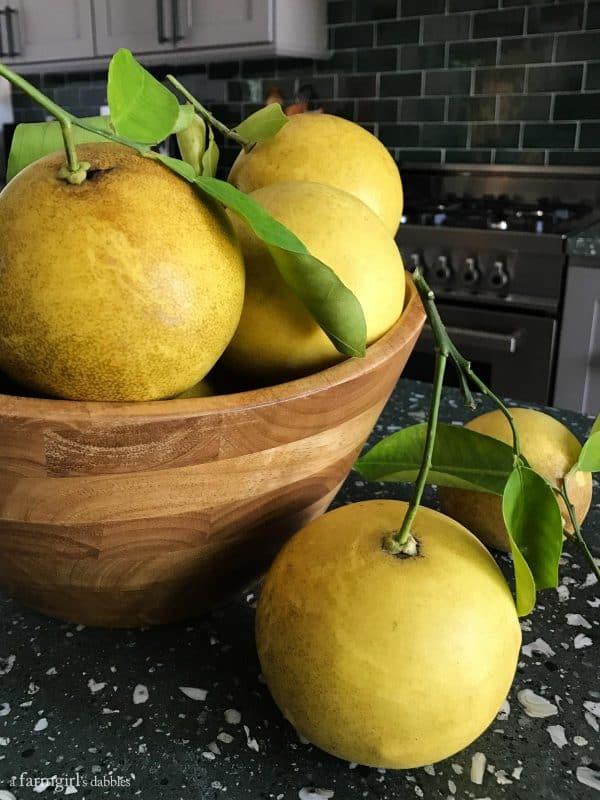 a bowl of grapefruit