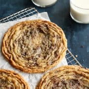 giant pan-banging cookies and glasses of milk